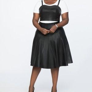 Eloquii Studio Faux Leather Pleated Skirt